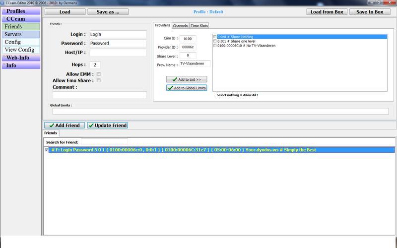 CCcam-Editor 2010