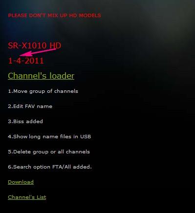 احدث اصدار لجهاز sr-x1010 hd 1-4-2011  من موقع ستاركوم