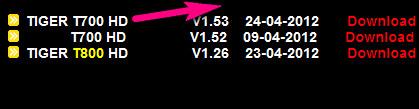 سوفتوير جديد لجهاز TIGER T700 HD v1.53 من الموقع الرسمي للتايجر  بتاريخ 23-04-2012