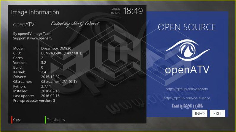 OE2.2 OpeNATV v5.2 For DM 820 HD-16.02.2016