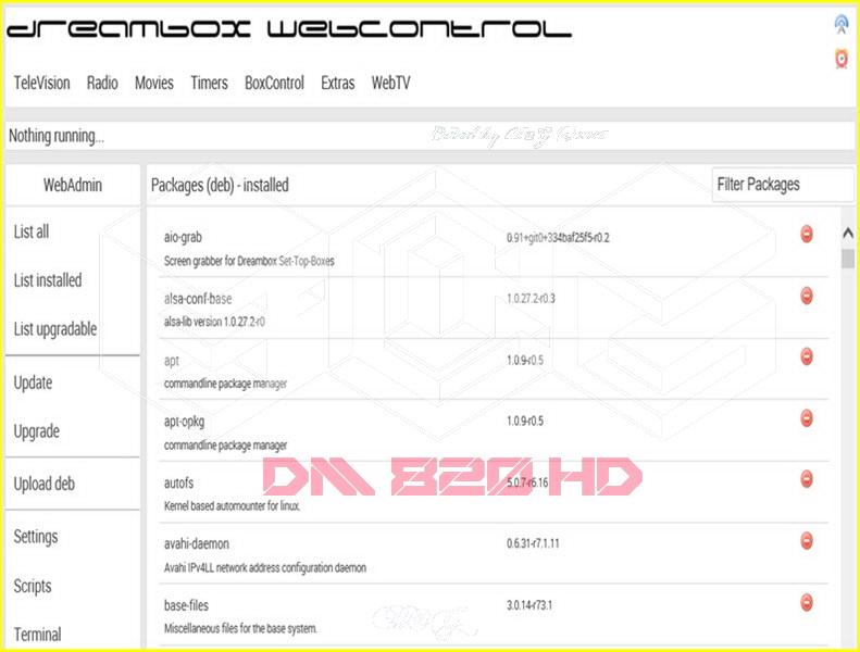 طريقة عمل بلجين WebAdmin لتحكم بالدريم 820 و7080