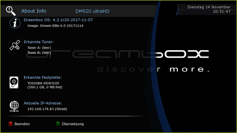 OE2 5 Dream Elite 6 0 For DM 920 Ultra HD