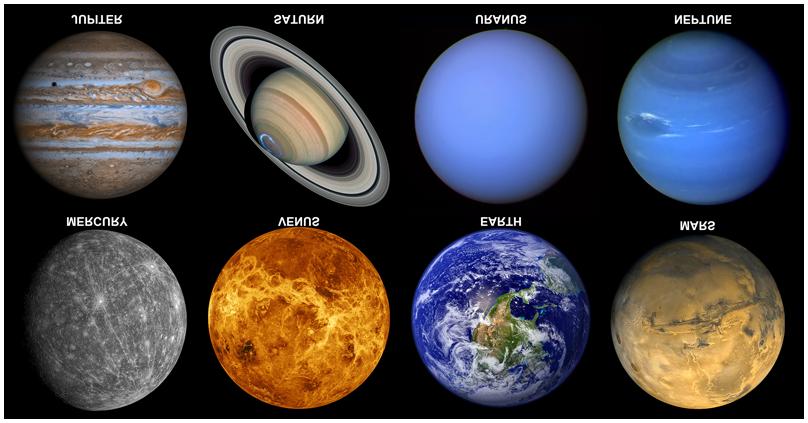 معلومات عن اسماء الكواكب باللغه الانكليزية فى المجموعة الشمسية