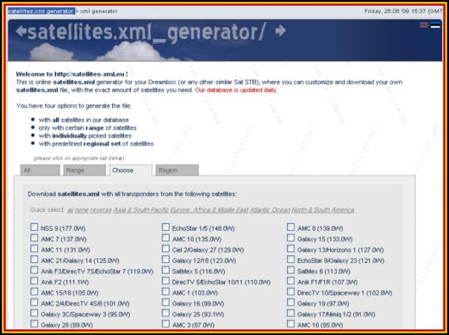 �� satellites.xml generator