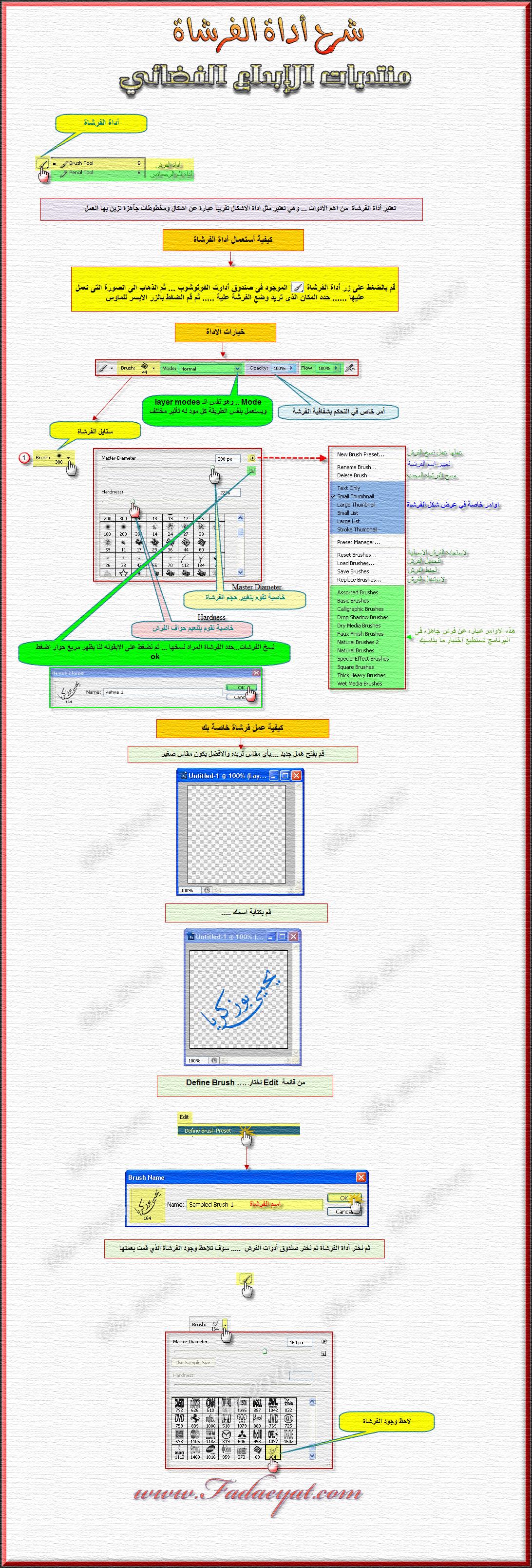 شرح أدوات الفوتوشوب - أداة الفرشاة