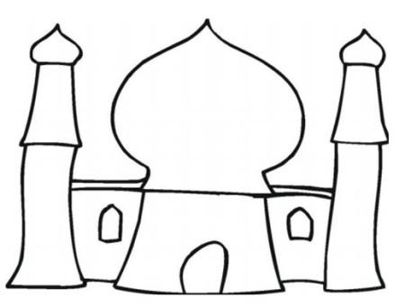 صور رسم و تلوين مساجد , تلوين مئذنة و مسجد للاطفال