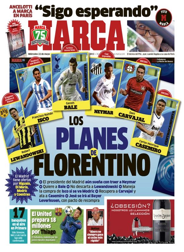 غلاف الماركا : مخططات فلورنتينو بيريز انتقلات ريال مدريد 2014