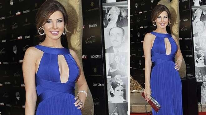 صور النجمة نانسى عجرم بفستان ازرق حفل توزيع جوائز موركس دور 2013