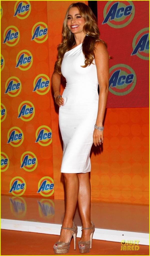 احدث صور الممثلة صوفيا فيرغارا فى المؤتمر الصحافي الذي أقامته شركة المنظف Ace