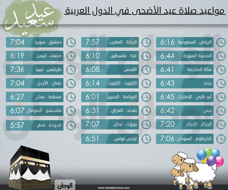 توقيت صلاة عيد الاضحي في الامارات اليوم الثلاثاء 15-10-2013