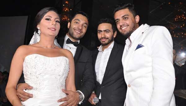صور حفل زفاف اخ تامر حسني 2013 , صور تامر حسني وبسمة بوسيل في حفل اخو تامر حسني 2014