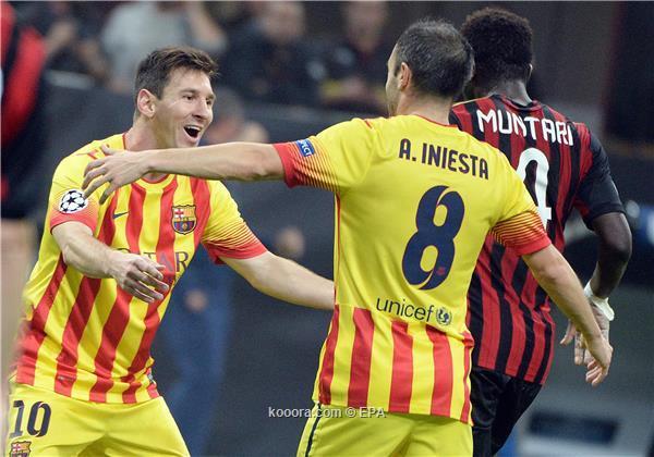 نتيجة مباراة برشلونة و ميلان في دوري ابطال اوروبا اليوم الثلاثاء 22-10-2013