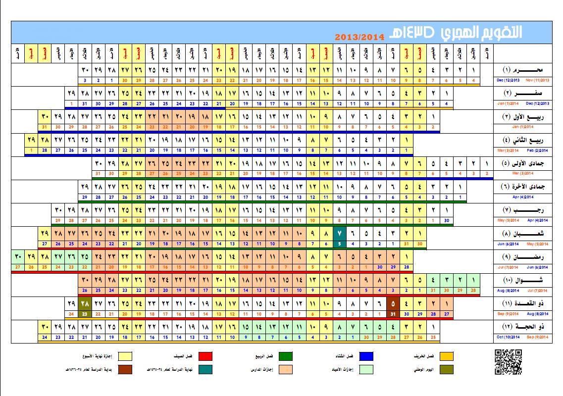 التقويم الهجري لسنة 1435 , صور تقويم العام الهجري الجديد 1435