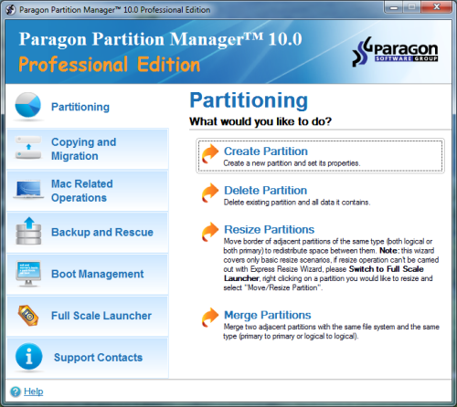 ����� ������ ����� ������ ���� ������ Paragon Partition Manager