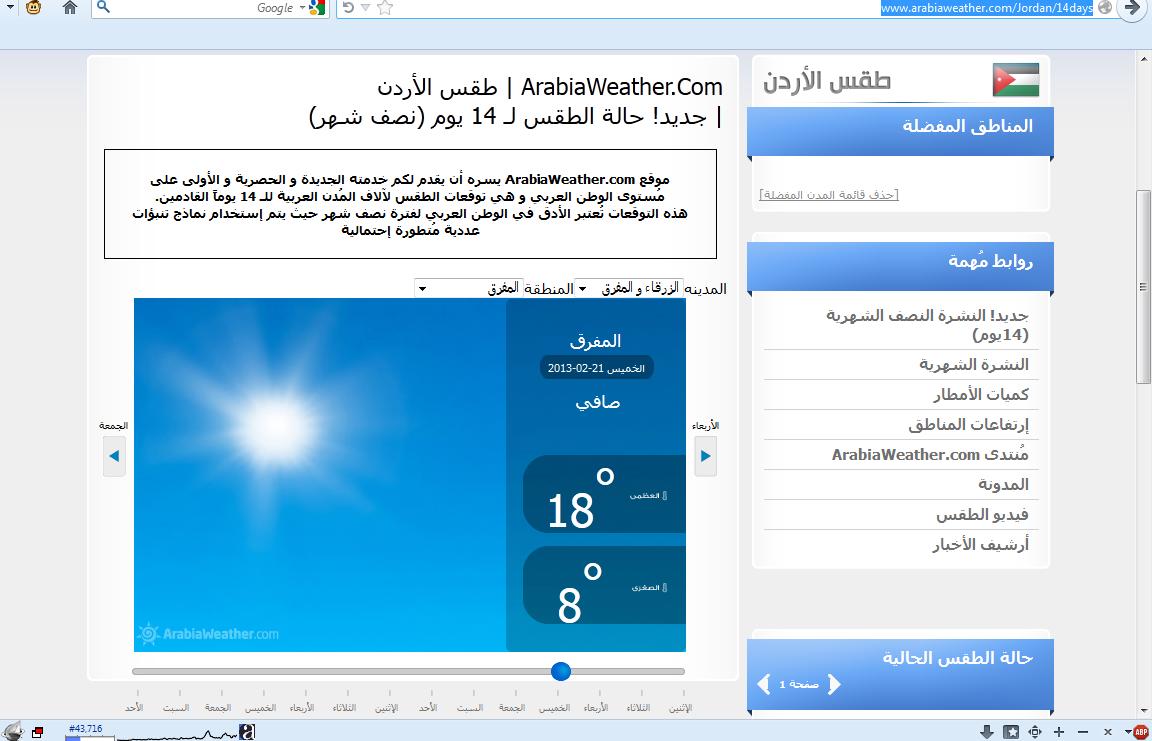 حالة الطقس في جميع محافظات الاردن 2014 , معرفة حالة الطقس يومياً في المحافظات الأردنية لمدة 14 يوما