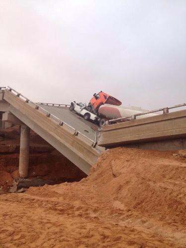 انهيار جسر الثمامة 20-11-2013 , صور إنهيار جسر الثمامة الاربعاء 16-1-1435