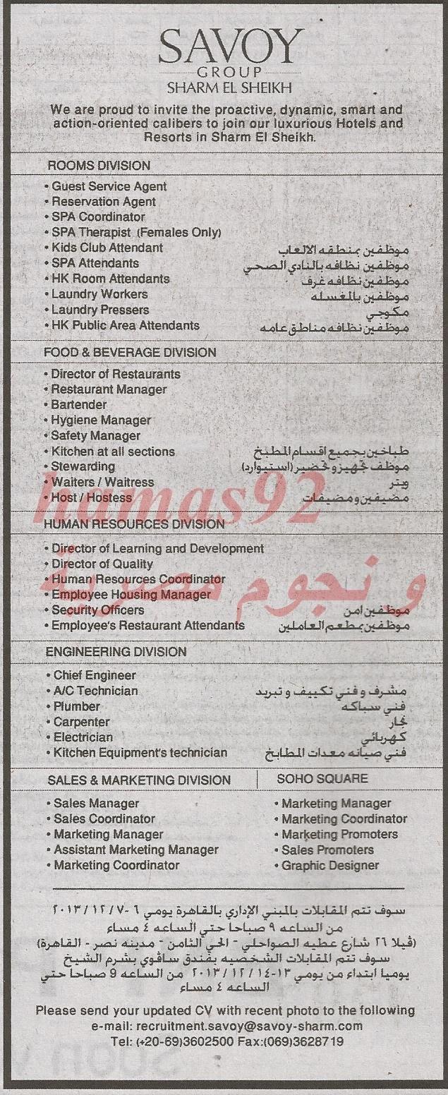 وظائف جريدة الاهرام اليوم الجمعة 29 -11-2013