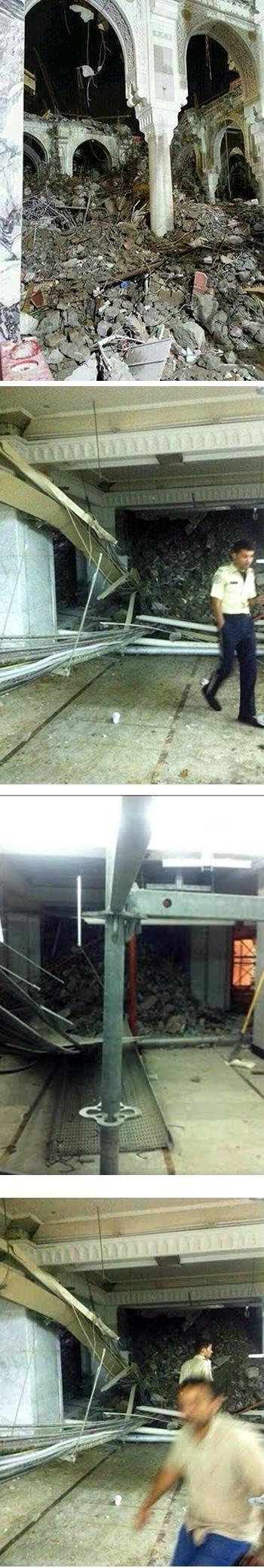 انهيار بدروم بالمسجد الحرام 1435 , شاهد بالصور انهيار بالمسجد الحرام 2013