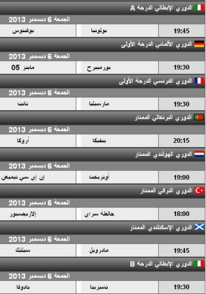 مباريات اليوم الجمعة 6-12-2013 , الدوري الايطالي 6 ديسمبر , الدوري الفرنسي 6/12/2013