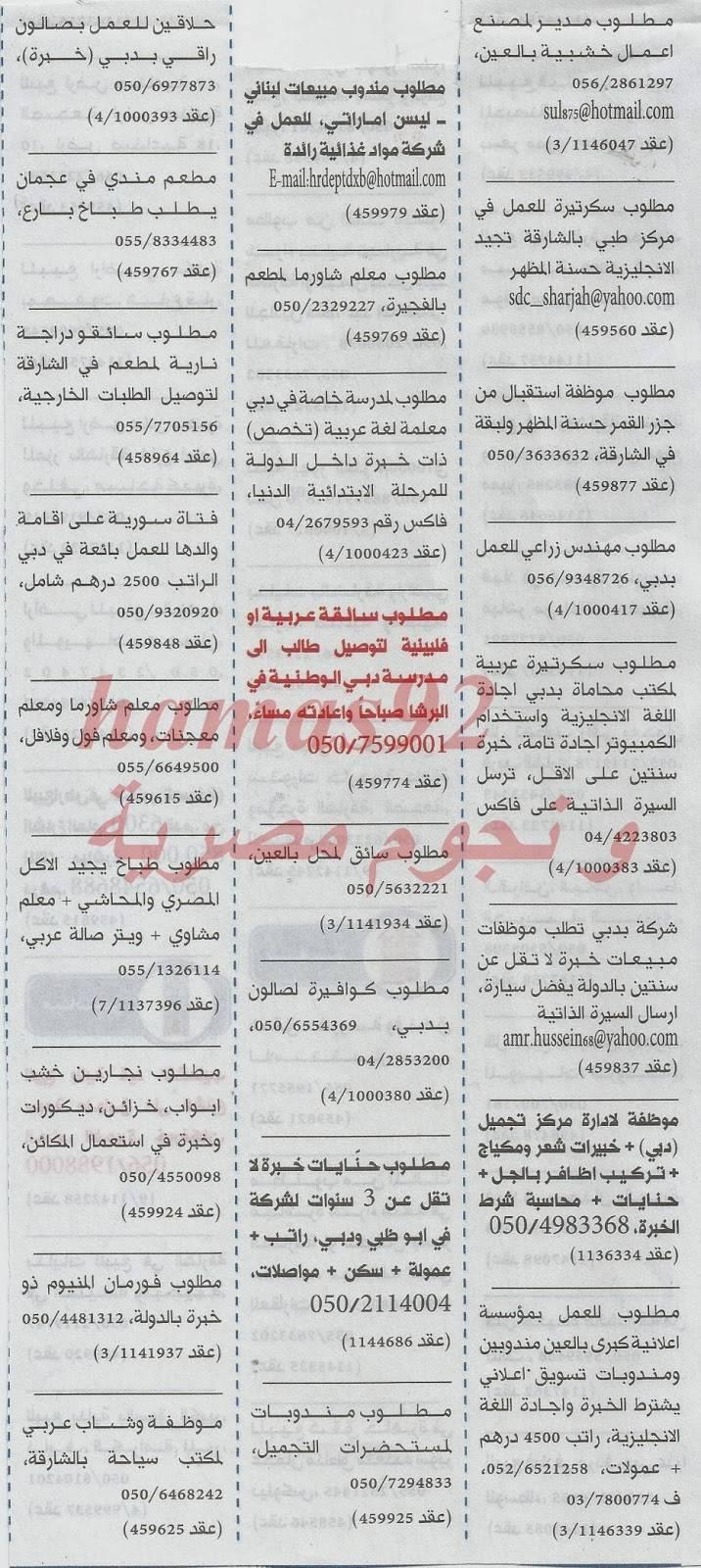 وظائف خالية في الامارات 10 ديسمبر 2013