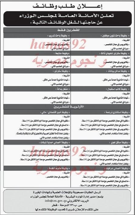 وظائف جريدة الراية قطر اليوم الخميس 12-12-2013 , وظائف خالية في قطر 12 ديسمبر 2013