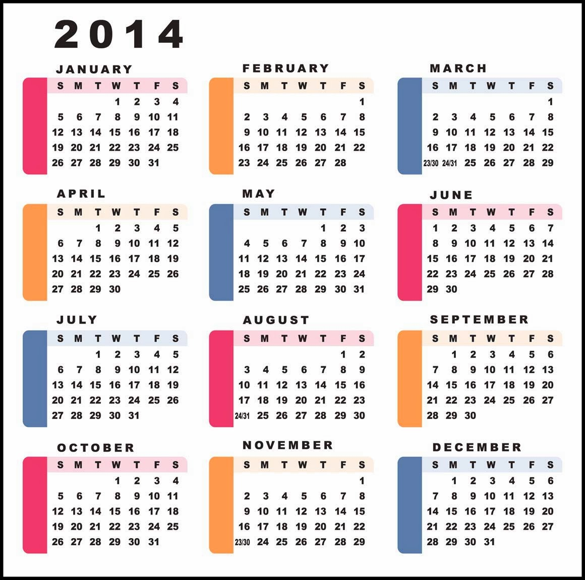 صور تقويم سنة 2014 , تصاميم تقويم عام 2014 , Calendar Year 2014