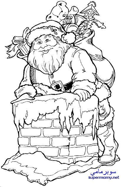 خلفيات بابا نويل ابيض واسود , صور بابا نويل كرتونية جاهزة للتلوين