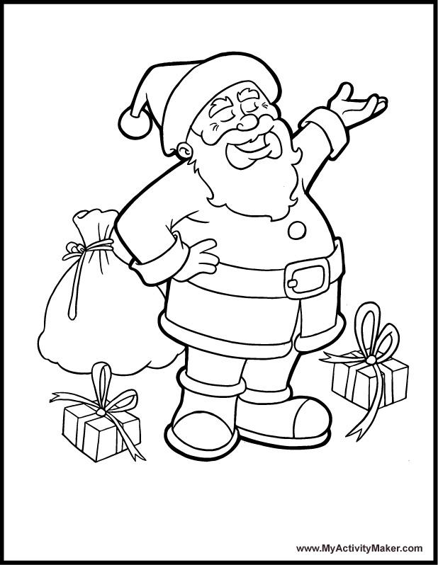 صور بابا نويل رسم بقلم رصاص سانتا كلوز للتلوين