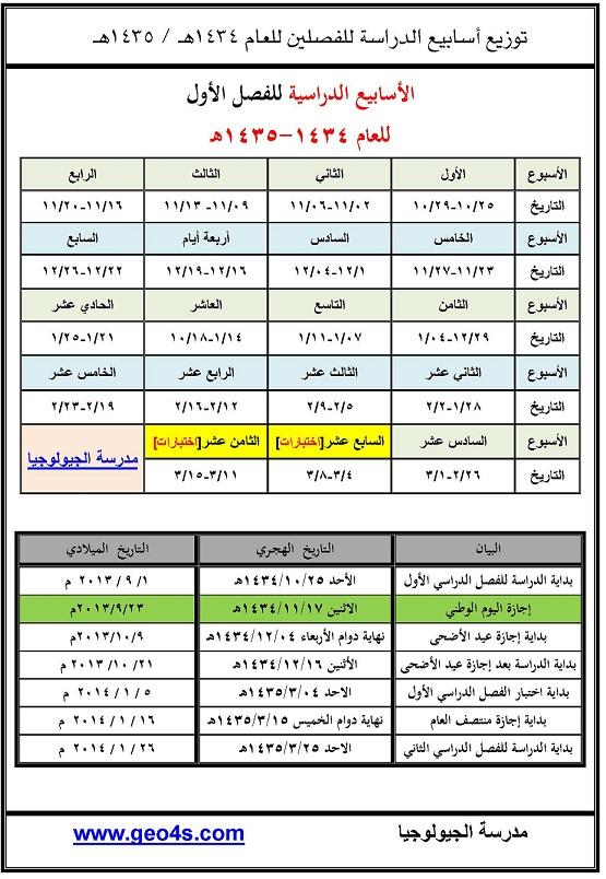 التقويم الدراسي في السعودية لعام 1435 , التقويم الدراسي الجديد لعام 1434 / 1435