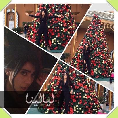 الفنانين مع شجرة الكريسماس 2014 , صور شجرة الكريسماس للنجوم الفن 2014