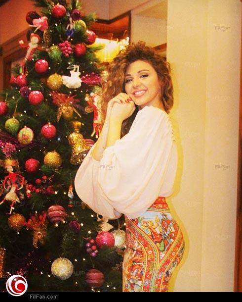 ميريام فارس وبنطلون الكريسماس 2014 , صور احتفال ميريام فارس بالكريسماس 2014