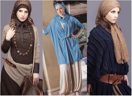 أحدث موديلات الأزياء 2014 , أزياء محجبات لفصل الشتاء 2014