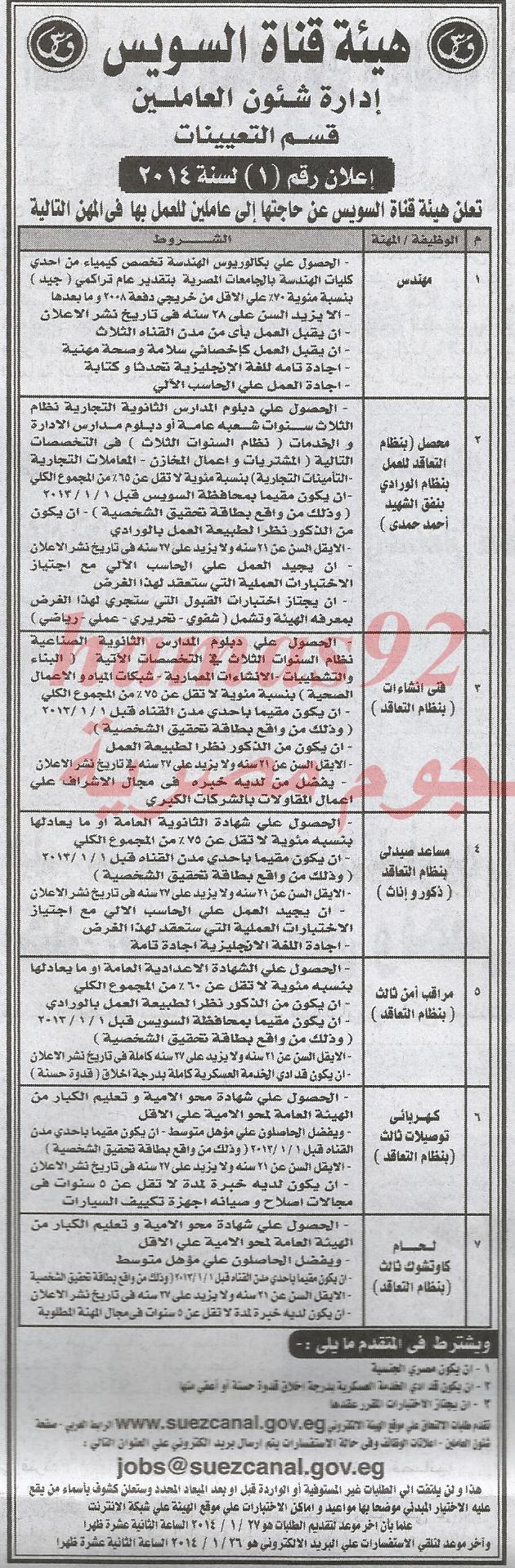 وظائف جريدة الاخبار اليوم الاثنين 13-01-2014