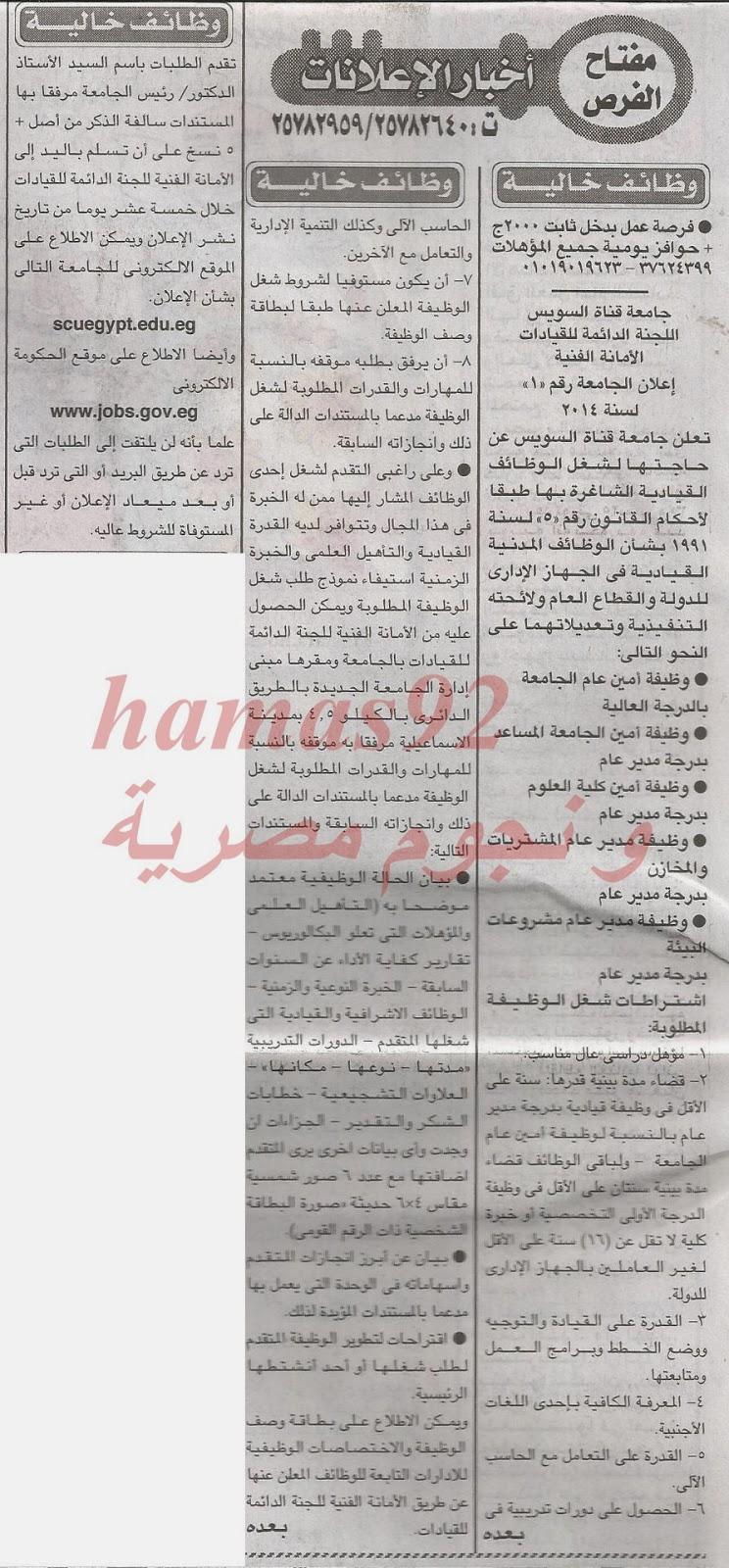 وظائف جريدة الاخبار اليوم الاربعاء 15-01-2014 , اعلانات وظائف خالية 15 يناير 2014