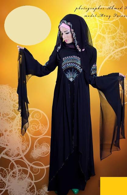 صور عبايات خليجة مطرزة , صور بنات الخليج بعبايات السوداء