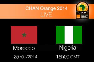 مباراة المغرب و نيجيريا 25-1-2014 Maroc Vs Nigeria بطولة أفريقيا للاعبين المحليين 2014