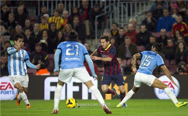 نتيجة مباراة مالاجا و برشلونة في الدوري الاسباني اليوم الاحد 26-1-2014