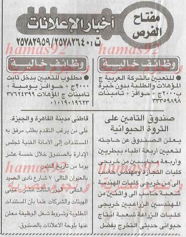وظائف جريدة الاخبار اليوم الاربعاء 29-1-2014 , وظائف خالية اليوم 29 يناير 2014