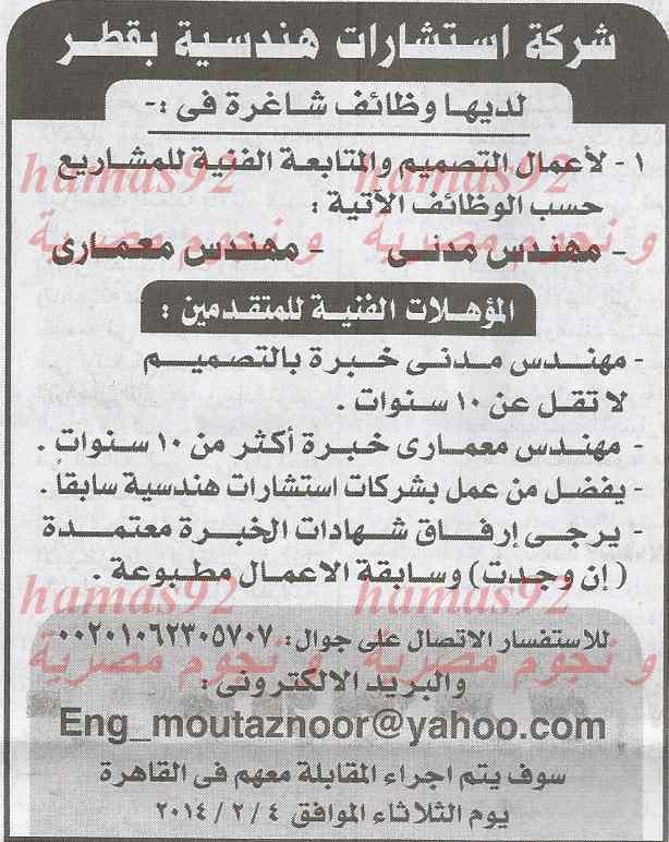 وظائف جريدة الاخبار اليوم الجمعة 31-1-2014 , وظائف خالية في مصر 31 يناير 2014