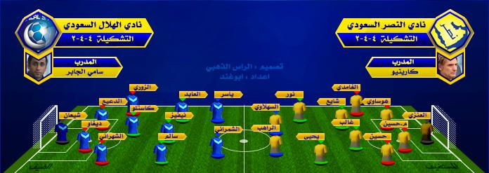 تشكيلة النصر و الهلال في نهائي كأس ولي العهد السعودي اليوم السبت 1-4-1435