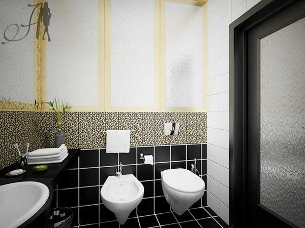 صور ديكورات حمامات باللون الاسود 2018 , صور تصميم حمامات بالالون الاسود 2018