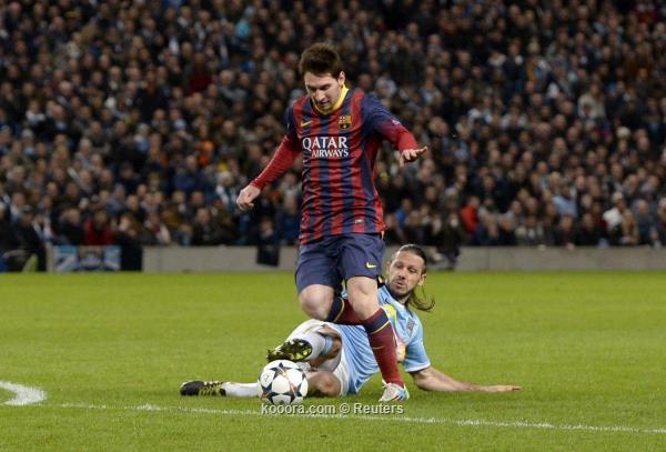 نتيجة مباراة مانشستر سيتي و برشلونة اليوم الثلاثاء 18-2-2014
