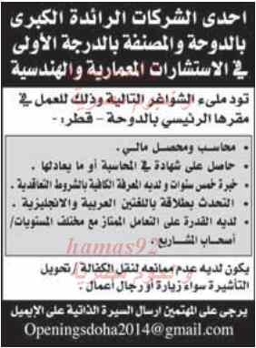 وظائف جريدة الراية قطر اليوم الخميس 20/2/2014
