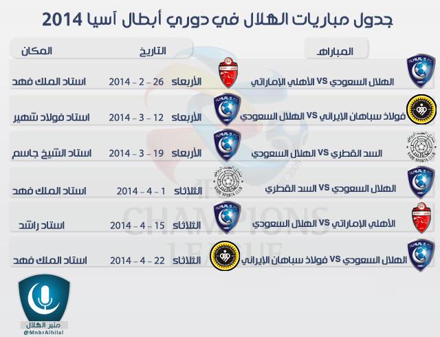 مواعيد مباريات نادي الهلال في دوري ابطال اسيا 2014 , جدول مباريات الهلال 26-2-2014 و 12-3-2014