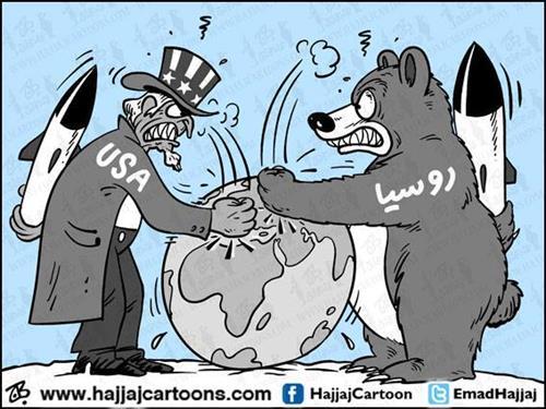 كاريكاتير يوضح الازمه في اوكرانيا والنزا بين روسيا والدول الاوروبية وامريكا لكسب اكرانيا في صفها