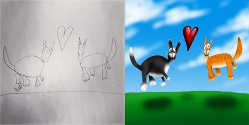 أب يحول رسومات اطفاله الى لوحات فنية مدهشة