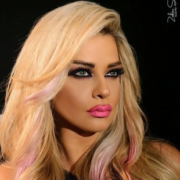 صور مادلين مطر بلوك جديد خصلات شعرها بالون الوردي 2014