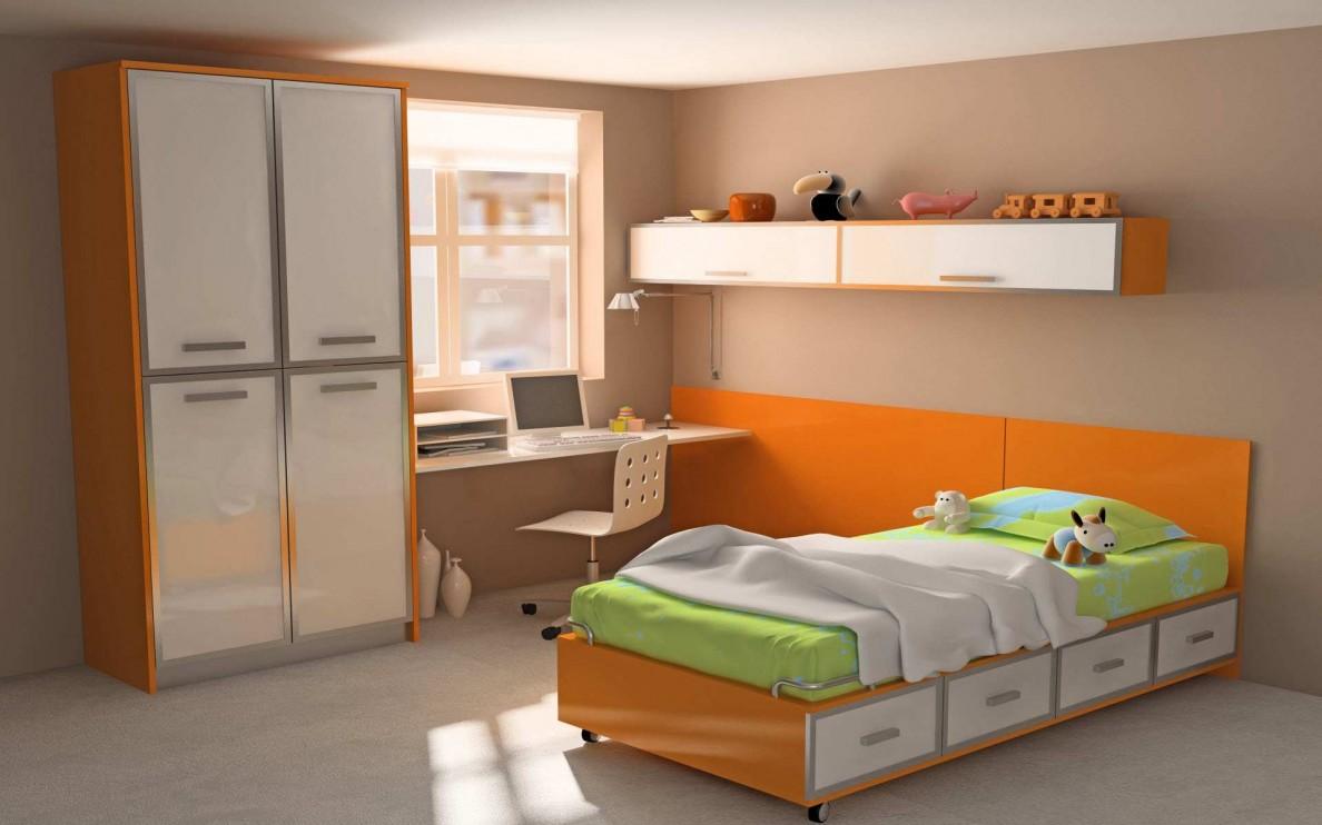تصميمات غرف نوم أطفال اللون البرتقالى 2018