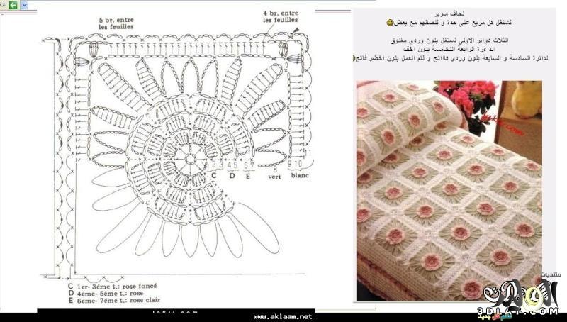 صور مفارش سرير بالكروشيه , تصميمات مفارش مصنوعة من الكروشيه 2014
