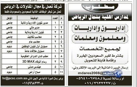 وظائف رجالية اليوم 16-6-1435 ، وظائف شبابية الاربعاء 16-4-2014